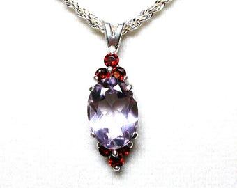 "Rose amethyst, amethyst  pendant, cocktail pendant,  pale plum red, statement piece, necklace pendant, ""Sweet Soft Plum"""