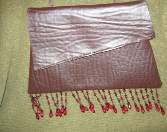 Upcycled Pink Beaded Evening Bag