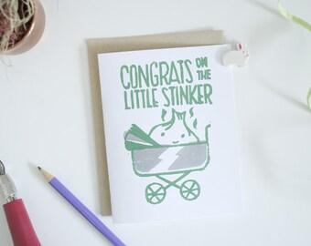 New Baby Greeting Card - Little Stinker - Garlic