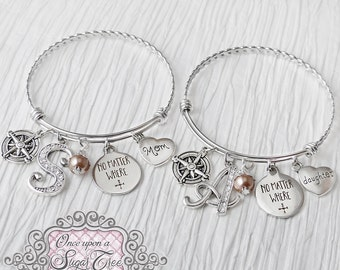 Mother Daughter Bracelet Set, No Matter Where Bracelet- Jewelry, Gift, Personalized Bangle Bracelet-Gifts for Woman- Compass Bracelet- Mom