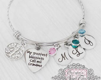 GRANDMA BRACELET- Mother's Day Gift - Birthstone Bangle Bracelet-Gifts for Grandma ,Personalized -My greatest blessings call me Grandma-Tree