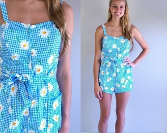 Sale vtg 60s blue gingham DAISY PRINT pinup SWIMSUIT Med/Large floral print bathing suit romper swimwear one piece
