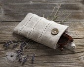 Linen and Lace Sunglasses Case, Linen and Cotton Eyeglasses Case in Natural Colors, Natural Glasses Pouch, Cottage Chic Eyewear