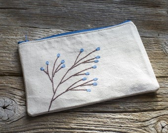 Cosmetic Bag with Blossom Tree, Hand embroidered Floral Zipper Pouch, Bohemian Accessories