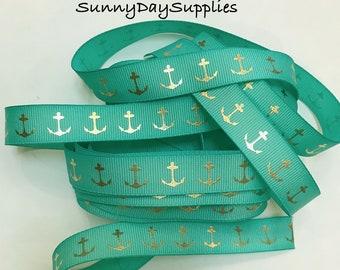 Anchor Ribbon, Nautical, Teal or Turquoise Grosgrain, Gold Metallic Anchors, Patriotic Ribbon, 5 YARDS, 5/8 inch wide, Sailing, Boats, Sea