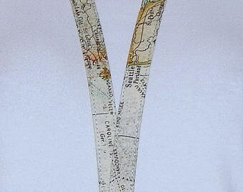 Map Lanyard - Id Badge Holder - Key Lanyard - Teacher Lanyard - Keychain