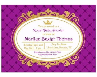 Princess Party Invitation or Printed with FREE SHIPPING - Birthday, Shower, Party - ANY Wording - Purple Gold Princess Collection