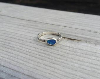 Opal Stacker Ring, Australian Opal Sterling Silver Ring, Handmade