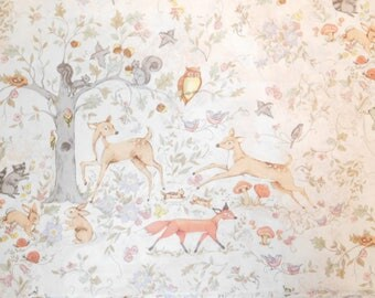 Susan Winget Fabric, Deer Fabric, By The Yard, Woodland Buddies Master Scenic Collection, Quilting Sewing Fabric, Woodland Fabric, Animals