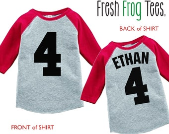 Personalized Birthday Jersey Number  Shirt - 3/4 or long sleeve relaxed fit raglan baseball shirt - any age and name - pick your colors!
