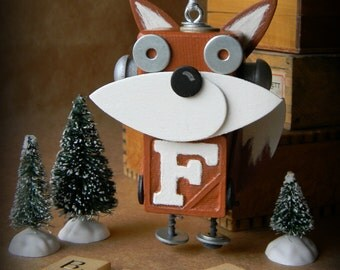 Robot Ornament - Fox Bot - F Bot - Upcycled Ornament - Hanging Decor by Jen Hardwick