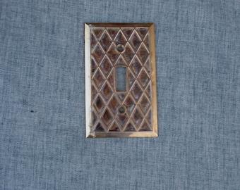 Vintage Metal Switch Plate Cover Faux Abalone Diamond Lattice Design Brass single Switch