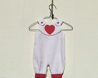 Red Pindots on White Heart Baby Girl Romper Large Preemie