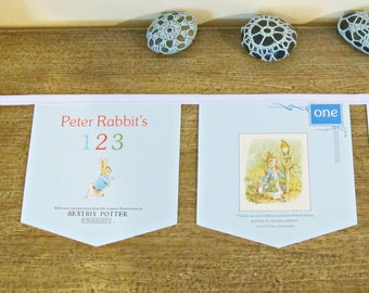 Peter Rabbit Bunting Counting. Banner Numbers Wall Hanging. Beatrix Potter Children Bunny Kittens Decor Garland Woodland Domum Vindemia Blue