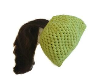 Ponytail Hat Puff Stitch Crochet Green Messy Bun Hat Handmade Handcrochet Bun Hat