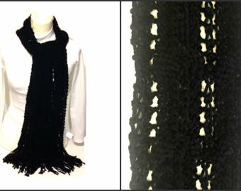 Black Scarf Hand Knitted Long Scarf With Fringes Handmade Long Scarf Ready To Ship