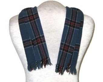60s Tartan Scarf Mens Neck Scarf Vintage Mens Scarf Made in Scotland 1960s Blue Tartan Scarf Winter Scarf Blue Plaid Scarf Tartan Wool Scarf