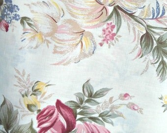 Romantic Roses Fabric, Linen/Cotton Blend, 1 yard cut
