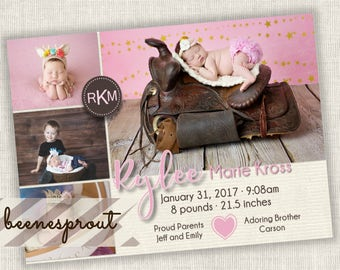 Pink Cream Brown Baby Girl Birth Announcement Invitation