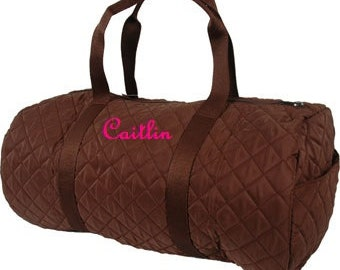 Personalized Custom Embroidered Round Quilted Duffel Bag Brown Dance Cheer Gym Gymnastic