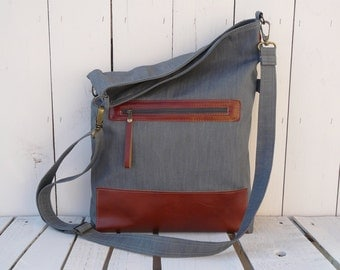 Rust Brown Tote Bag, Leather City Bag, Leather Shopping Bag, Grey Canvas Tote Bag, Leather Messenger, Gift for Her, Christmas Gift for Wife