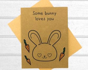 Bunny Love Card - Valentines Day Card - Boyfriend Card - Kawaii Card - Love Card For Him - Cute I Love You Card - Card for Husband