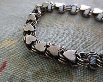 60s vintage JB sterling silver heart charm bracelet- triple link bracelet, 925