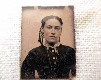 antique miniature gem tintype photo - 1800s, young woman with ringlets in her hair