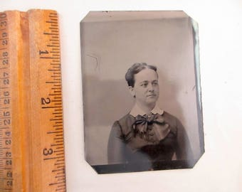 antique tintype - woman with large bow