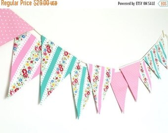 ON SALE Shabby Chic Fabric Banners, Bunting, Garland, Wedding Bunting, Flags, Mint green and Pink shade- 3 yards