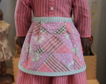 Apron Upcycled from Vintage Quilt Block for 18 Inch Doll, AP78b