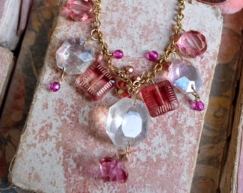 Marie Antoinette: Handmade necklace w/ Antique opalescent crystal chandelier drop, pink artisanal glass bead, swarovski crystal, velvet tie