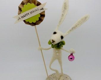 "Spring White Bunny Rabbit pink Vintage Mercury Glass wool needle felted Large 10 1/2"" tall German inspired Gaston Bartholomew #1"