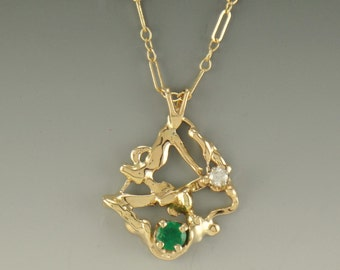 P676- 14ky Abstract Pendant with Emerald and Diamond- One of a Kind