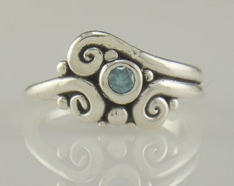 R971-Sterling Silver Blue Diamond Ring- One of a Kind