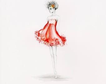 Art Print Fashion Illustration Giclee Print of my original artwork pencil drawing art print Burgundy Dress Fashion Art Print Beautiful Women