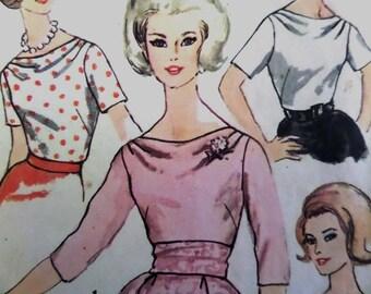DRAPE NECK BLOUSE Pattern • Simplicity 4782 • Miss 14 • Button Back Blouse • 60s Top • Sewing Patterns • Vintage Patterns • WhiletheCatNaps
