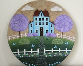Spring in the Country Folk Art Plate Primitive Americana rustic scene, blooming trees, saltbox houses, kite, pastel colors, MADE TO ORDER