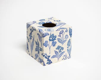 Tissue Box Cover Blue Linen wooden decoupaged made by hand
