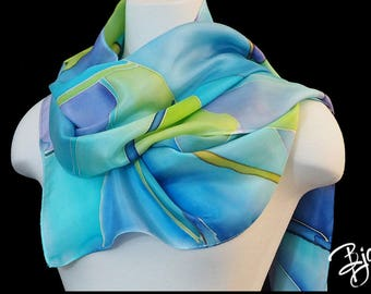100% Silk Hand Painted Scarf - Turquoise, Blue, Lavender, and Green