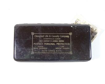 Vintage Metal Lock Box / Industrial Storage / Cloverleaf Insurance Advertising Metal Box