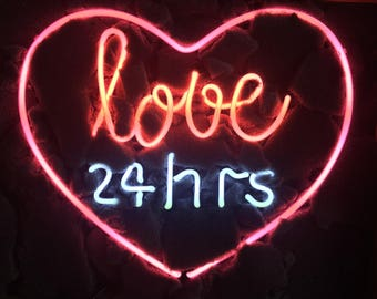 "17""x14"" Real Glass Neon Light Sign Vintage LOVE 24 hours Heart Lighting Art UK"