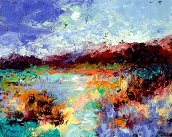 "Original Large Abstract Landscape Painting- ""Sapphire Afternoon""- by Claire McElveen"