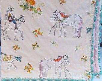 Minky baby blanket- Horse minky blanket- crib minky blanket - toddler minky blanket- girl minky blanket-horse minky blanket-baby shower gift