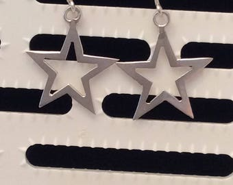 Authentic Vintage STERLING SILVER 925 STAR Drop Earrings, Wedding, Bride, Bridesmaid, Prom, Birthday, Free Postage.