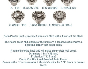 Satin Pewter Drawer Pulls Knobs / Sea and Ocean theme cabinet knobs/ Kitchen cabinet seaside collection knobs/ Sea Turtle/ Beachside theme
