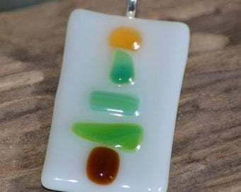 Fused Glass Christmas Tree Pendant with Silver Plated Bail