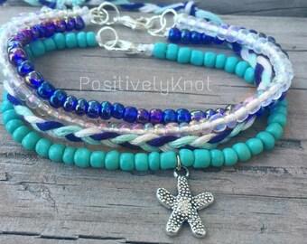 CLEARANCE Starfish Friendship Bracelet Set   Braided String Bracelet Beaded Charm Bracelet
