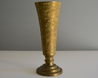 Large Vintage Brass Vase - Gold Shiny Etched Floral Flower Arrangement Wedding Decor