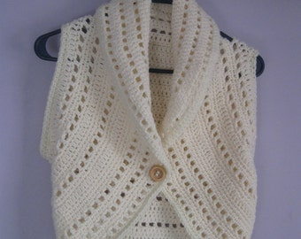 Crochet Vest, Bolero, Crochet Shrug, Ivory Vest